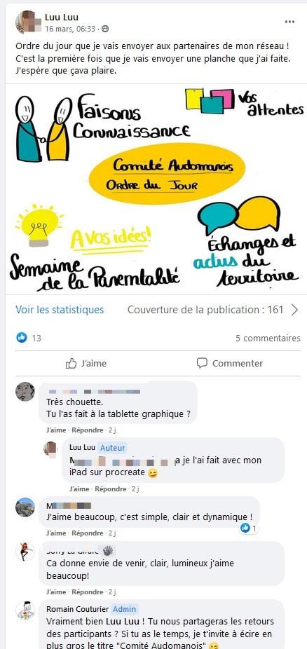 Groupe facebook privé formation facilitation graphique